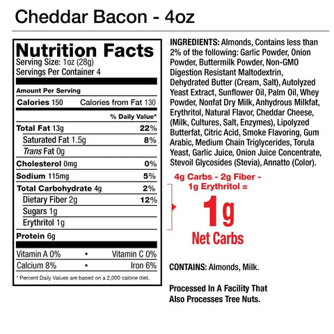 Legendary Foods Almonds Protein Low Carb Keto Cheddar Bacon Seasoned Nutrition Label Facts