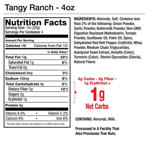 Legendary Foods Almonds Protein Low Carb Keto Tangy Ranch Seasoned Nutrition Label Facts