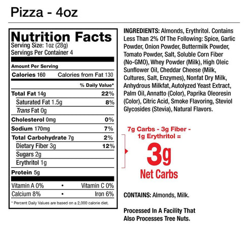 Legendary Foods Almonds Protein Low Carb Keto Pizza Seasoned Nutrtition Label Facts