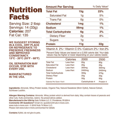 nuts n more ALMOND BUTTER HIGH PROTEIN SPREAD Nutrition Facts