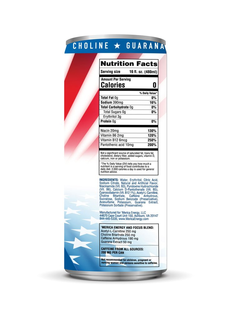 merica energy freedom nutrition facts label