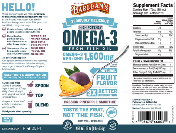 Barleans omega3 high potency fish oil passion pineapple smoothie nutrition facts supplement information