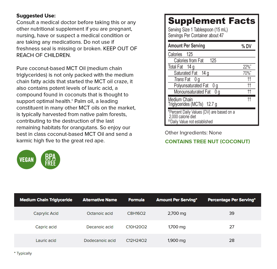 onnit mct oil supplement facts label