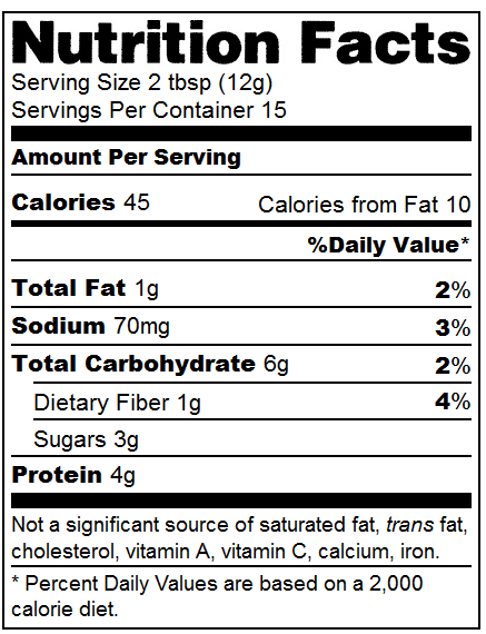 Pb2 Nutrition facts label