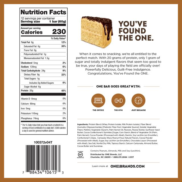 one bar peanut butter chocolate cake nutrition facts label