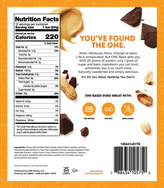 one basix peanut butter chocolate chunk nutrition facts label