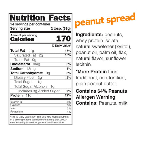nuts n more peanut butter spread protein nutrition label facts