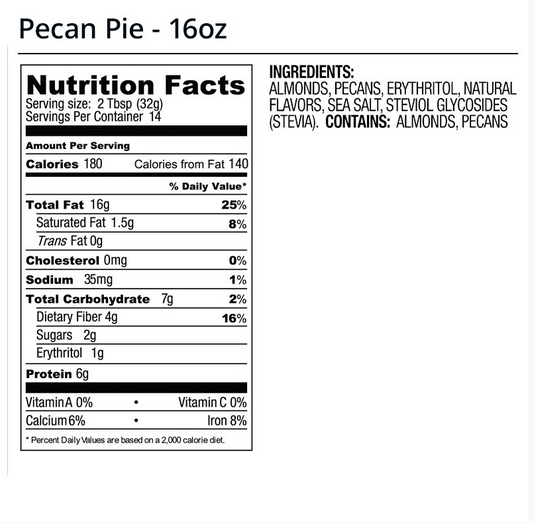 legendary foods pecan pie nut butter nutrition facts