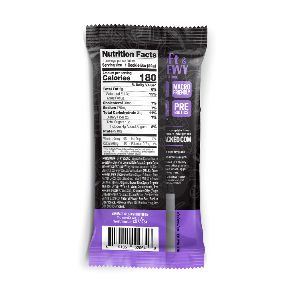 flap jacked protein cookie bar chocolate brownie nutrition facts label info