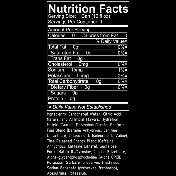 raze energy nutrition facts label