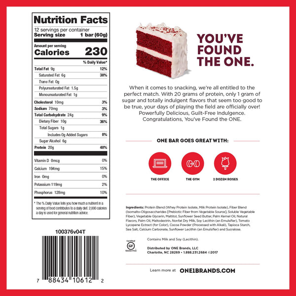 ONE Bar Red Velvet nutrition facts label