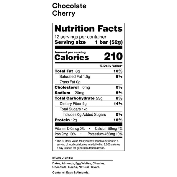 chocolate cherry rxbar nutrition facts label