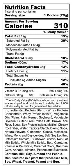 sinfit protein cookie snickerdoodle nutrition facts label