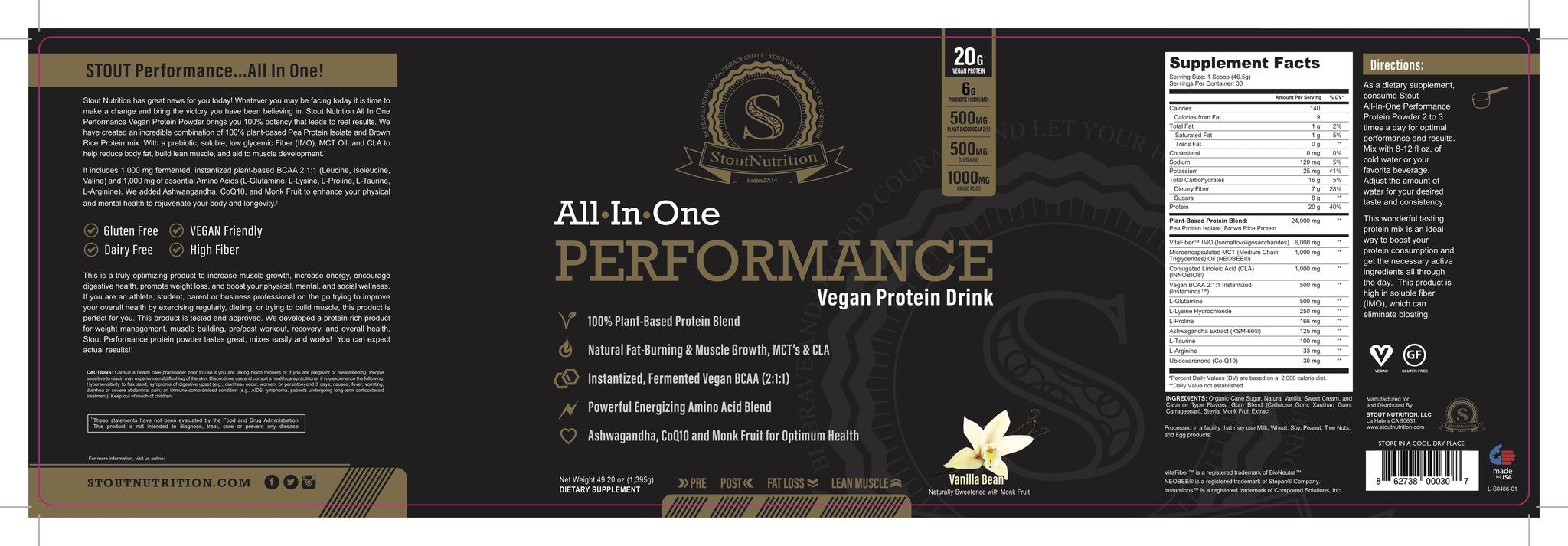 Stout Nutrition all in one plant protein nutrition facts label