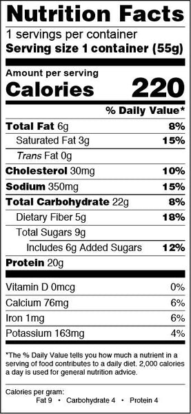 flap jacked triple berry nutrition facts info