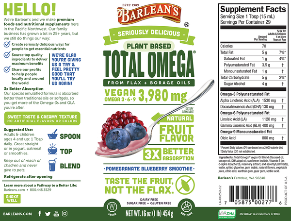 Barleans Plant Based Total Omega flax and borage oils pomegranate blueberry smoothie