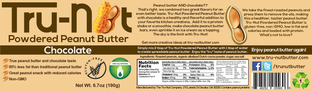 tru-nut powdered peanut butter label chocolate
