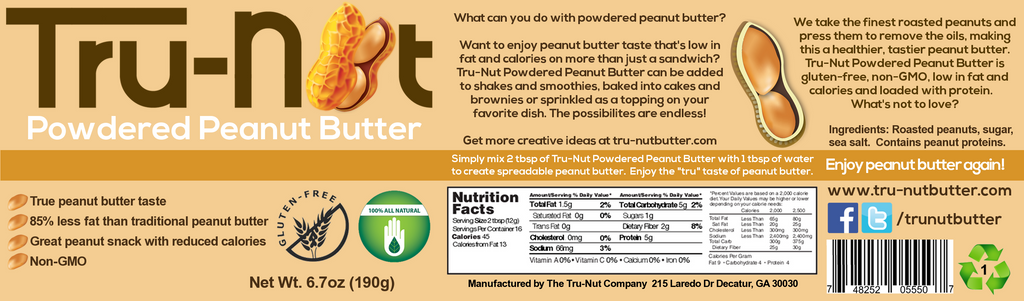 Tru-nut Powdered Peanut Butter Label