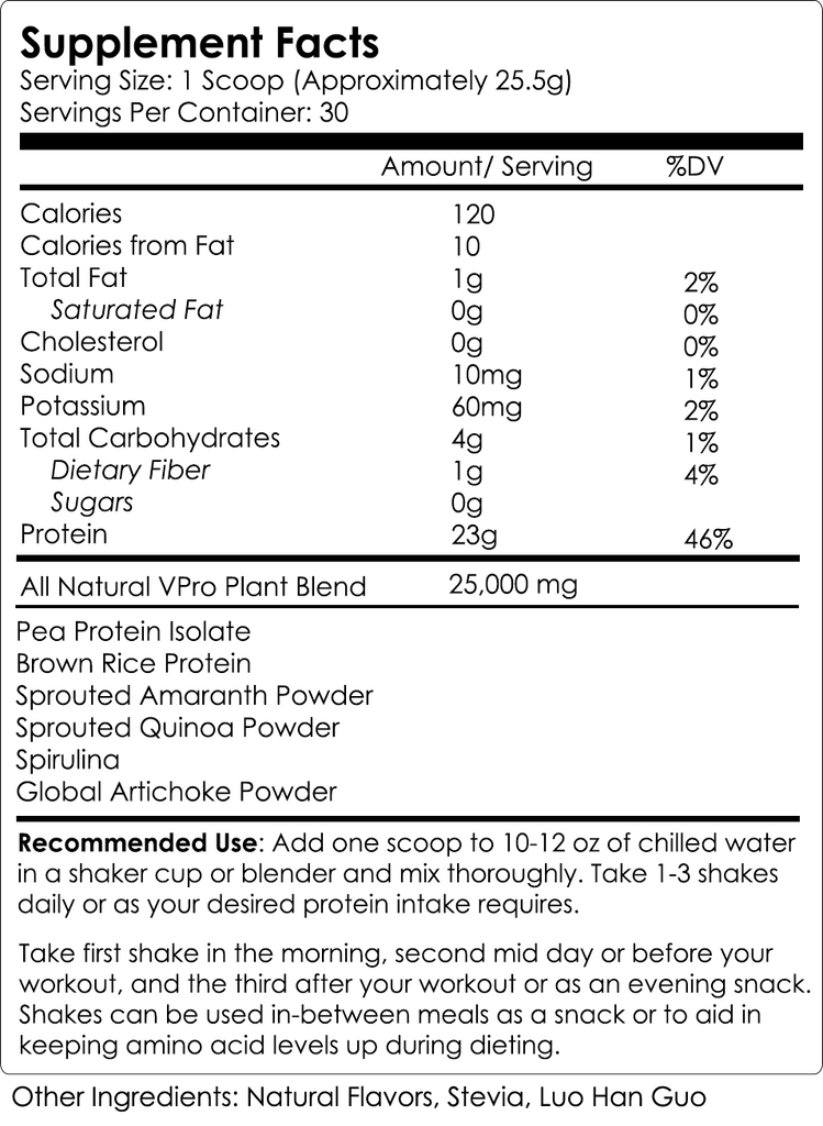 NutraKey V pro Plant Protein Supplement Nutrition Facts Label