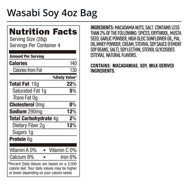 Legendary Foods Wasabi Soy Sauce Macadamia Nuts Nutrition Facts Label