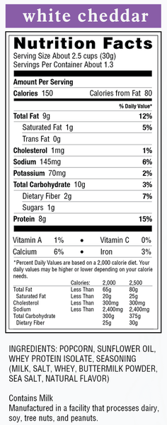 white cheddar protes nutrition facts cinnamon protes popcorn nutrition facts