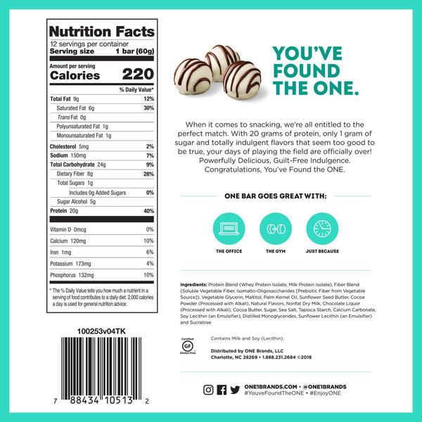 one bar white chocolate truffle nutrition facts label