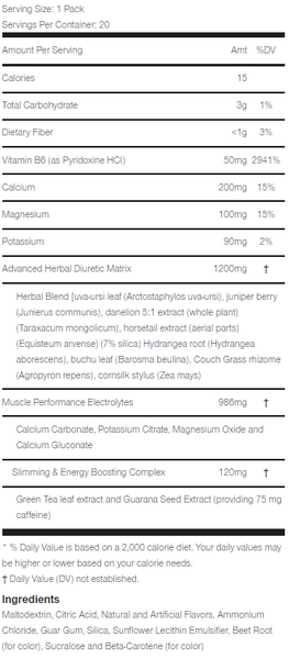 xpel stick packs supplement facts label