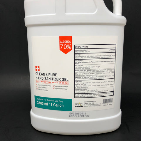 1 Gallon W/Pump: Clean & Pure Hand Sanitizer Gel 70% Alcohol (SALE)