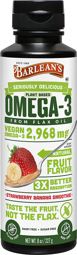 barleans plant based omega 3 from flax oil strawberry banana smoothie