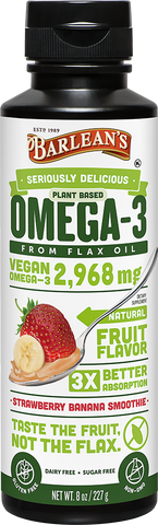 Barlean's Seriously Delicious Plant Based Omega-3 Flax Oil Strawberry Banana Smoothie (8oz-16oz)