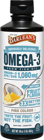 Barlean's Seriously Delicious Omega-3 Fish Oil Piña Colada (8oz-16oz)
