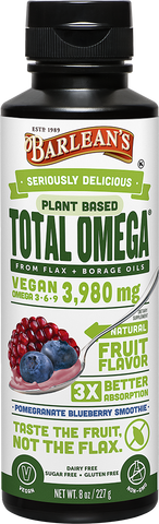 Barlean's Seriously Delicious Plant Based Total Omega Pomegranate Blueberry Smoothie (8oz-16oz)