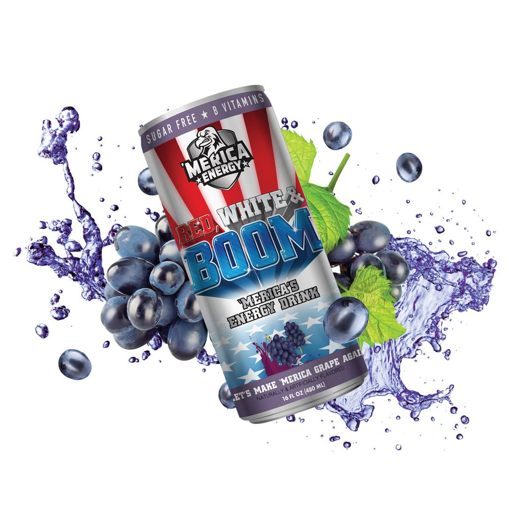 Merica Labz Red, White & Boom Energy Drink Let's MAke 'Merica Grape Again Flavor