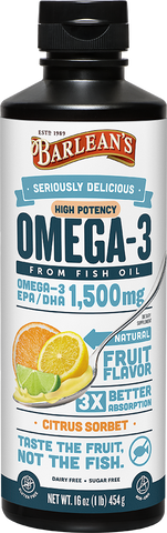 Barlean's Seriously Delicious High Potency Omega-3 Fish Oil Citrus Sorbet (16oz)