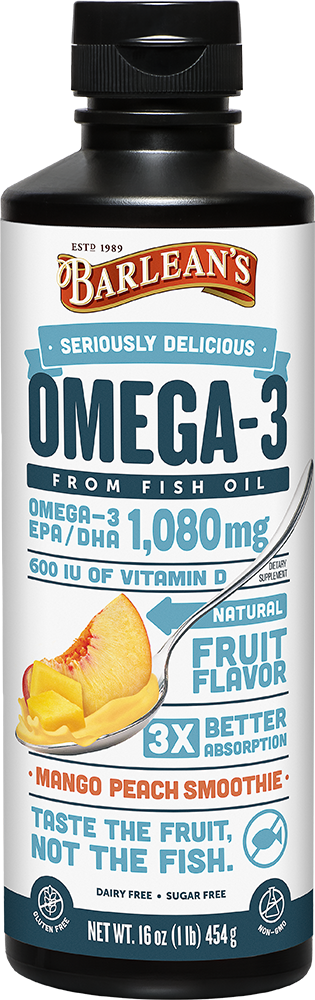 Barlean's Seriously Delicious Omega-3 Fish Oil Mango Peach Smoothie (8oz-16oz)
