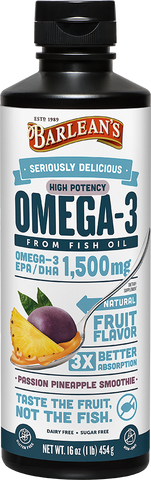 Barlean's Seriously Delicious High Potency Omega-3 Fish Oil Passion Pineapple Smoothie (16oz)