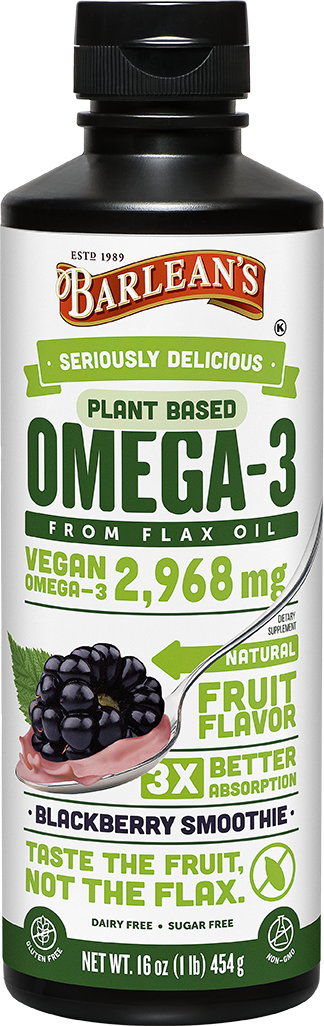 barleans plant based omega 3 from flax oil blackberry smoothie