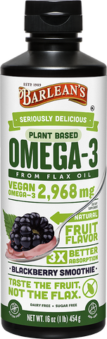 Barlean's Seriously Delicious Plant Based Omega-3 Flax Oil Blackberry Smoothie (16oz)