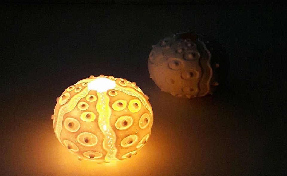 porcelain sea urchin tea light holder by Red Earth Designs for AUTHOR: home of British-made luxury homeware