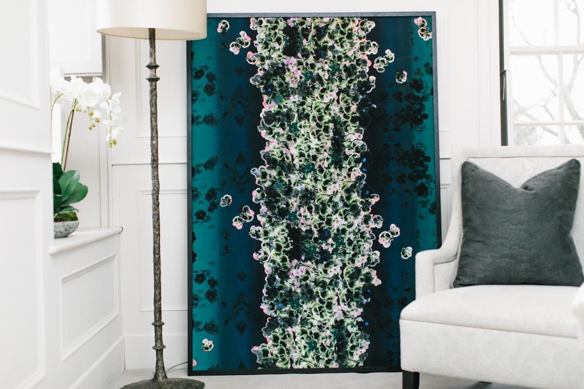 Falling Flowers silk art piece by EvA Bespoke for AUTHOR: home of British-made luxury homeware