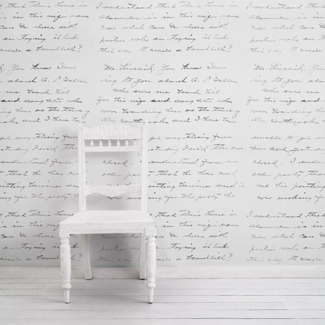 Concrete love letter wallpaper in almost white colour made by Mineheart for AUTHOR Interiors