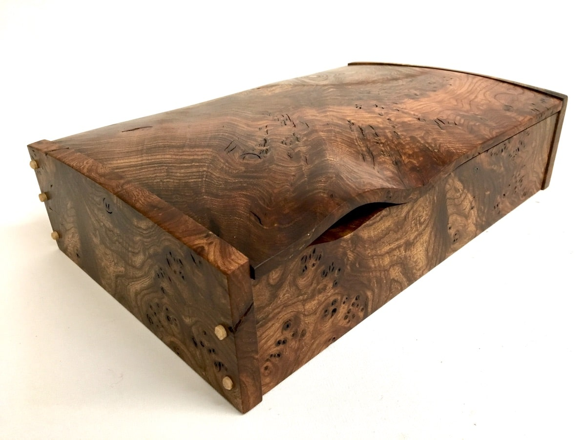 Burr Elm Wave Desk Box by Jonathon Vaiksaar for AUTHOR's collections of unique and luxury British-made home accessories