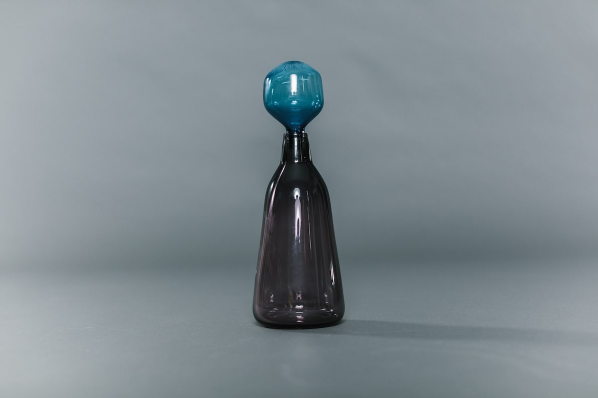 Grey Glass Decanter with Blue Stopper handblown by Vicky Higginson for AUTHOR