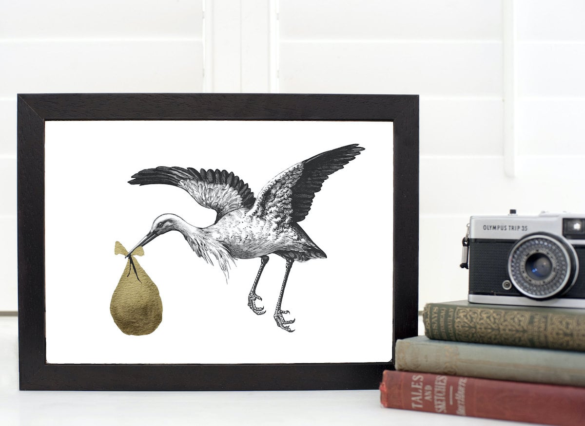 New Baby Stork Print by Mountain & Molehill for AUTHOR's unique collections of British-made home accessories and gifts