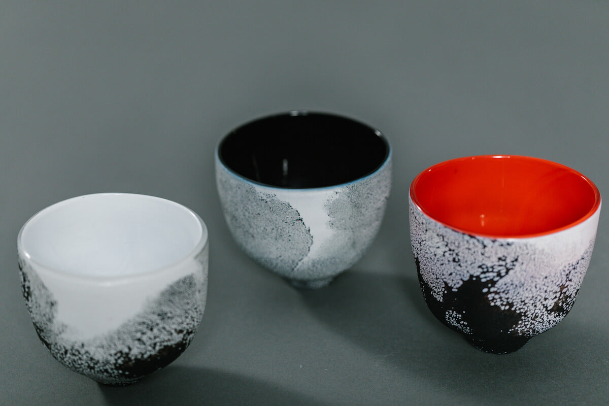 Shino Glass Tea Bowls by Vicky Higginson for AUTHOR's collection if British-made luxury and unique homeware