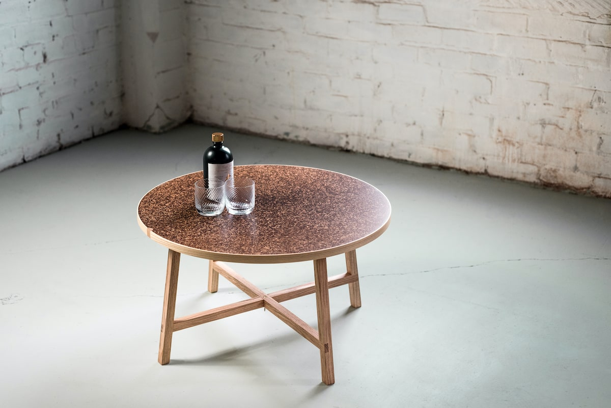 Brasseur Table made by Draff from waste material produced by local distilleries and breweries in Dundee