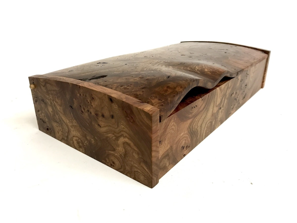 Burr Elm Wave Desk Box by Jonathon Vaiksaar for AUTHOR's collections of unique British-made home accessories
