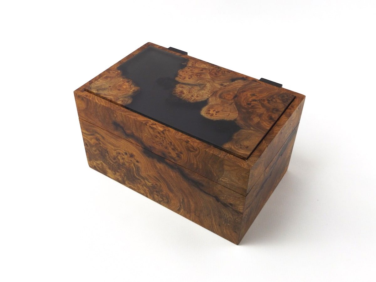 Burr Elm and Resin Small Jewellery Box by Jonathon Vaiksaar for AUTHOR's collection of luxury British-made home accessories