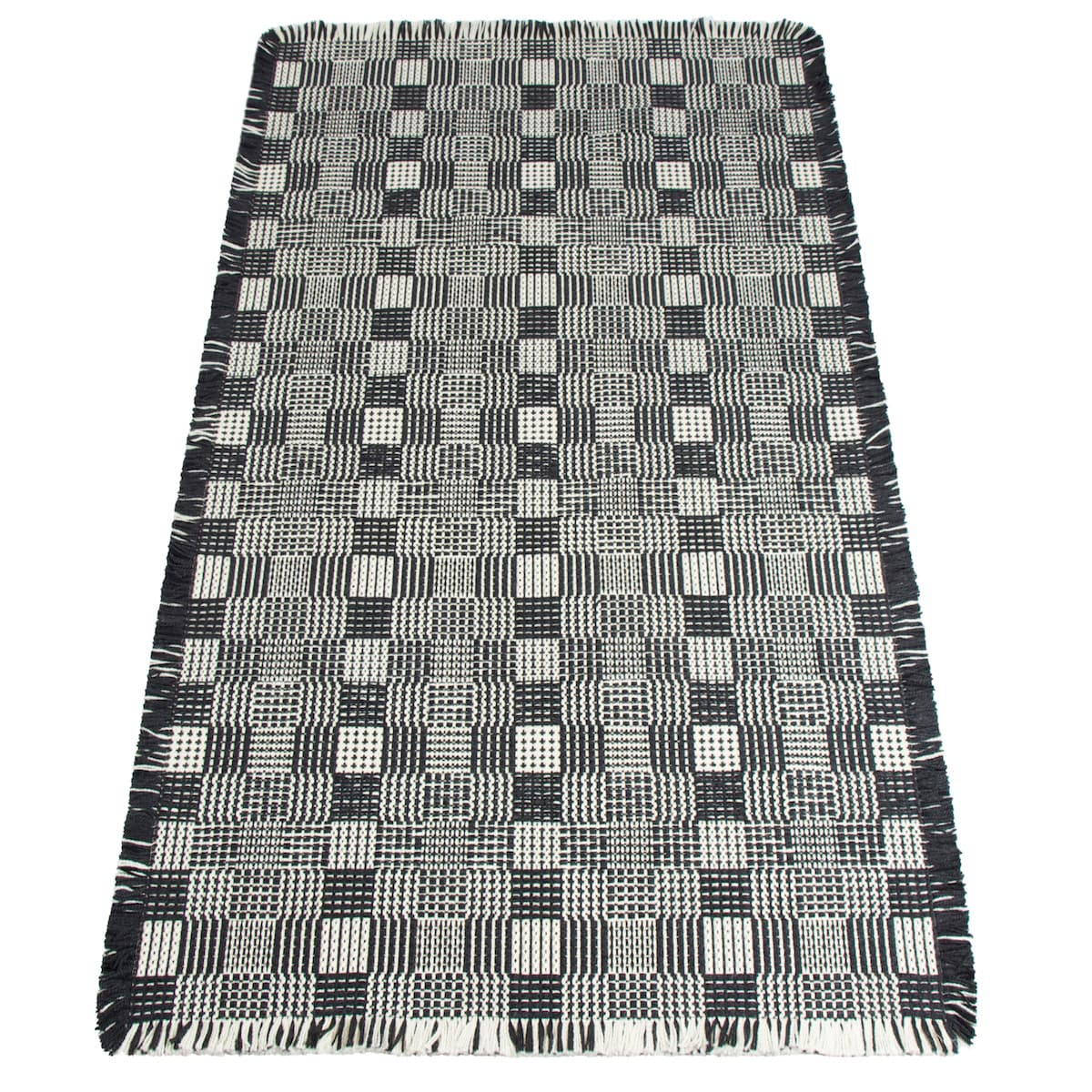 Chequered Black Rug by Roger Oates for AUTHOR's collection of British-made homeware