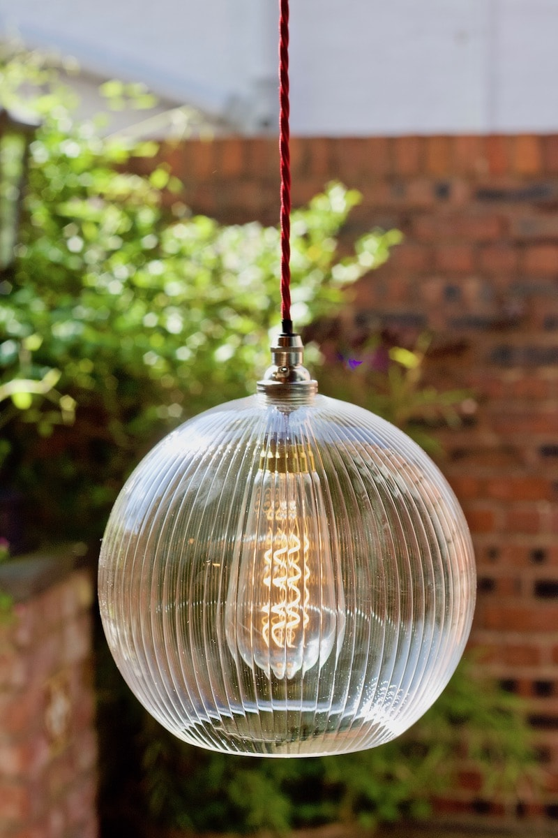 Hereford Skinny Ribbed Glass Globe Pendant Light by Fritz Fryer for AUTHOR